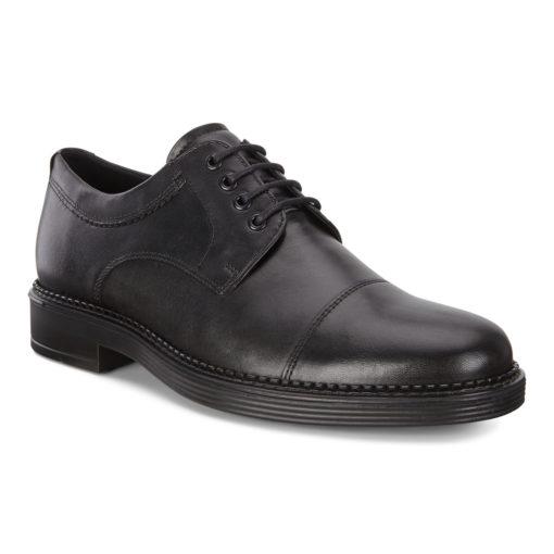 ECCO Men's Holton Apron Toe Tie Black Leather