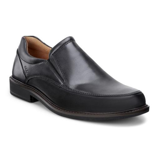 ECCO Men's Holton Apron Toe Slip On Black Leather