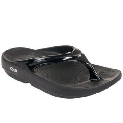 Oofos OOlala Black Thong Sandal