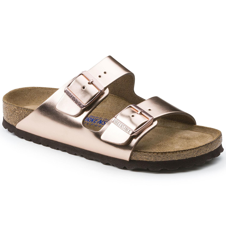 9e83c09529e Birkenstock Arizona Soft-Footbed Metallic Copper Leather Narrow ...