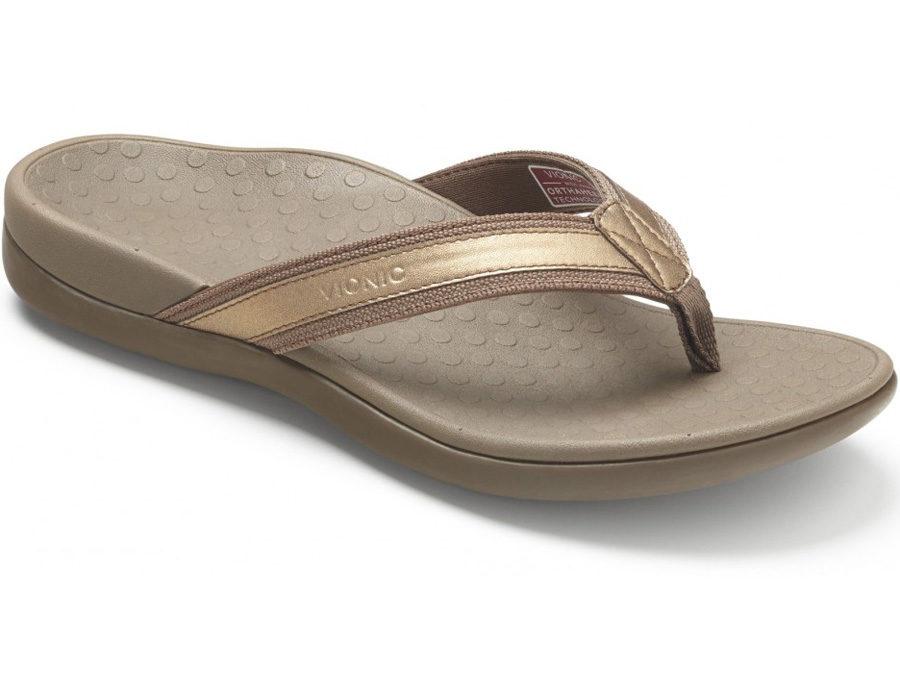 Vionic Women's Tide II Toe Post Sandal Bronze Metallic