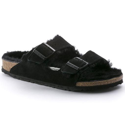 Birkenstock Arizona Shearling Black Suede Leather
