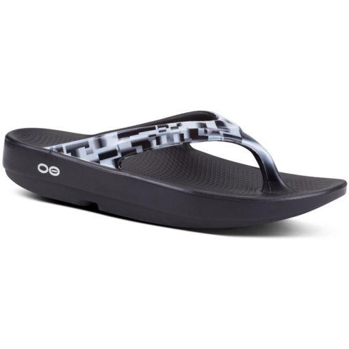 Oofos Women's OOlala Geo Sandal Black and White