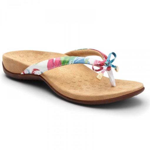Vionic Women's Bella II Toe-Post Sandal White Floral