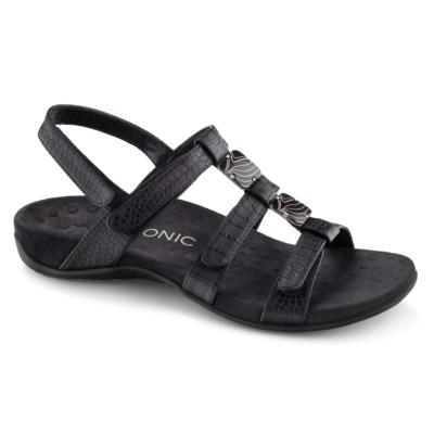 Vionic Women's Amber Adjustable Sandal Black Crocodile