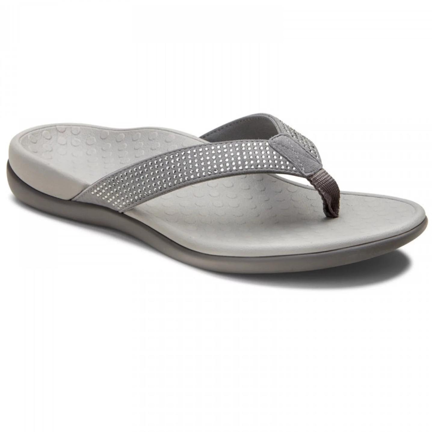 Tide Rhinestones Toe Post Sandal Pewter
