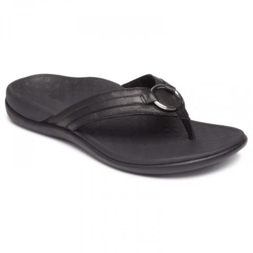 Vionic Women's Tide Aloe Toe Post Sandal Black Leather