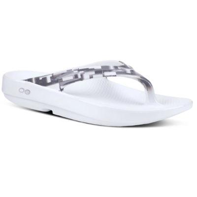 Oofos Women's OOlala Geo Sandal White & Grey