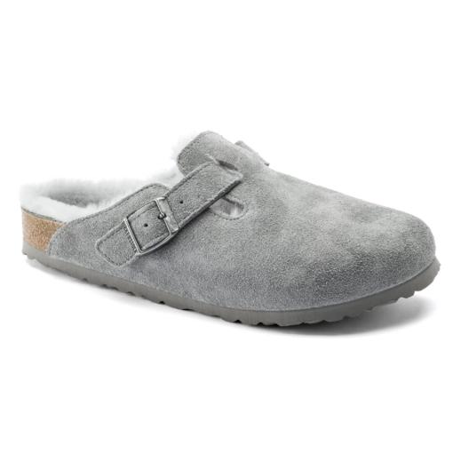 Birkenstock Boston Shearling Grey Suede Leather