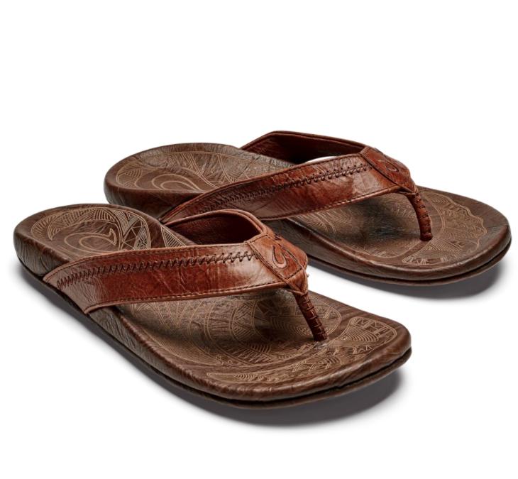 Olukai Men's Hiapo Leather Sandal Rum Dark Wood