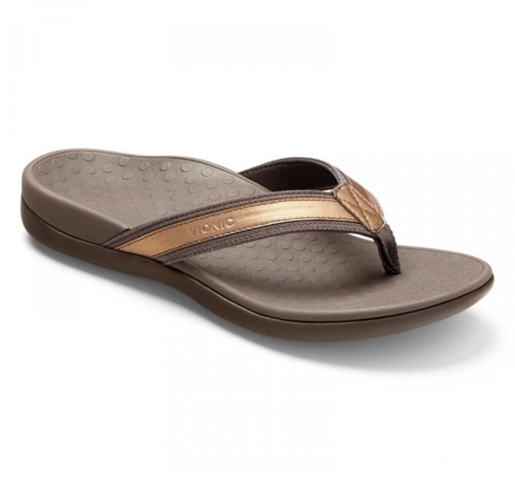 Vionic Women's Tide II Toe Post Sandal Dark Bronze Metallic