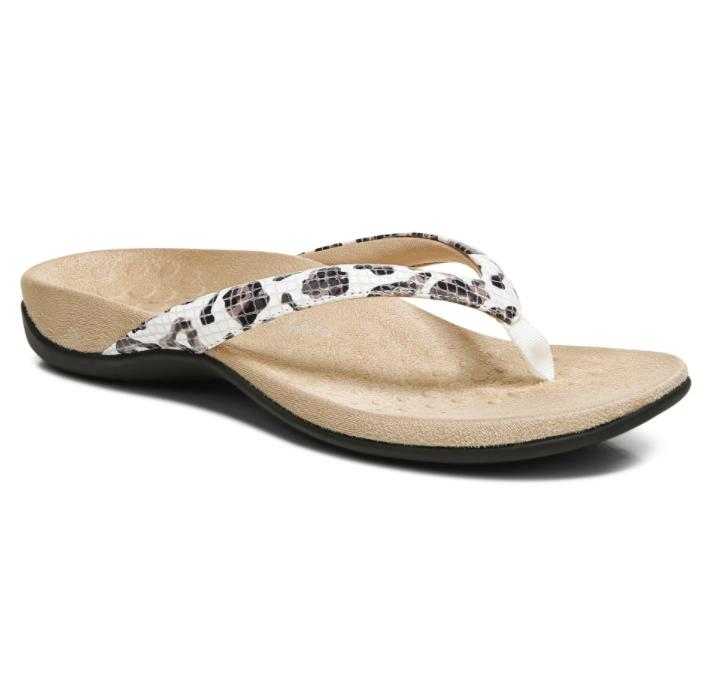 Vionic Women's Dillon Toe Post Sandal White Leopard